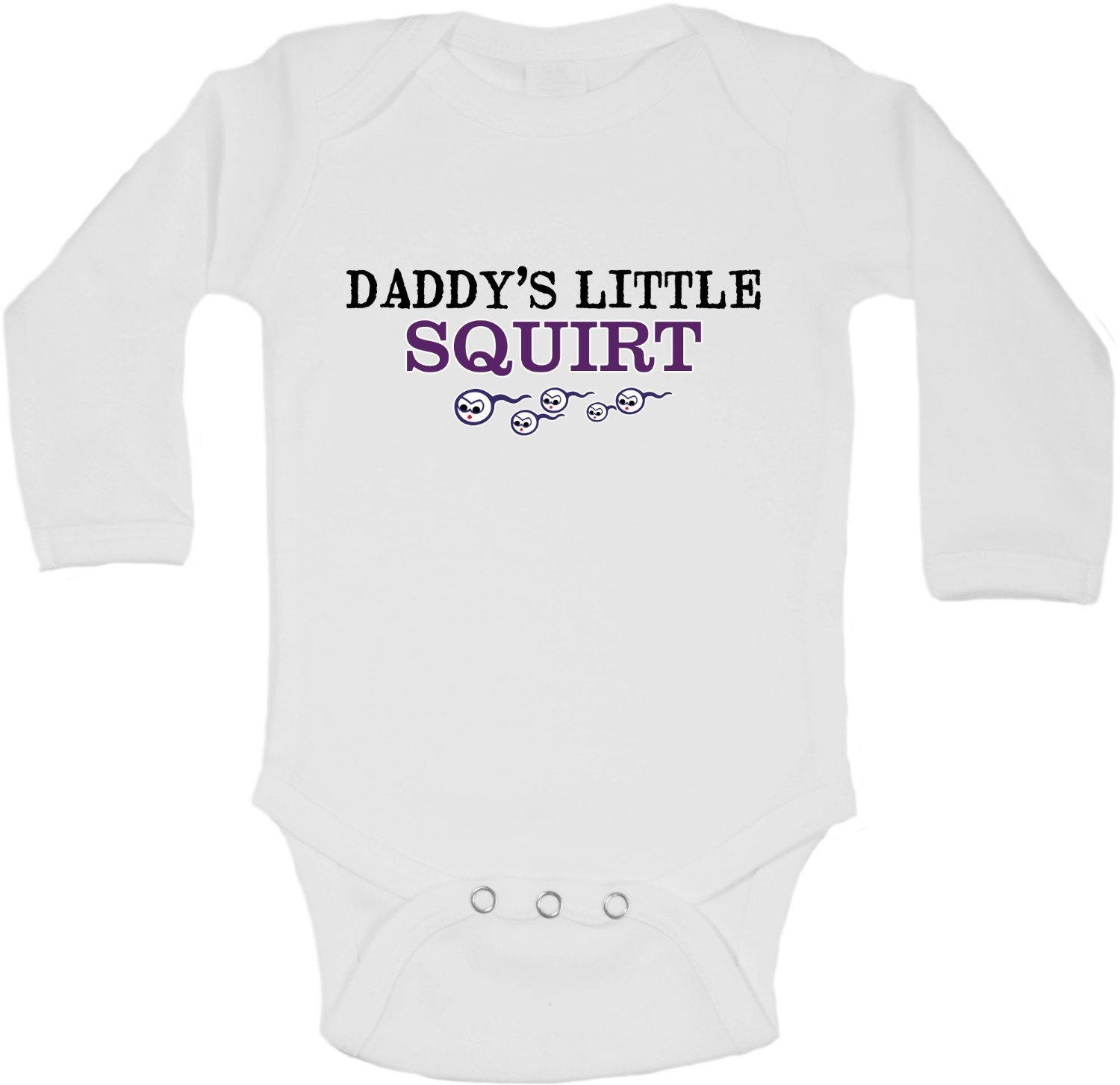 Daddys Little Squirt Personalized Long Sleeve Baby Vests Bodysuits Unisex White