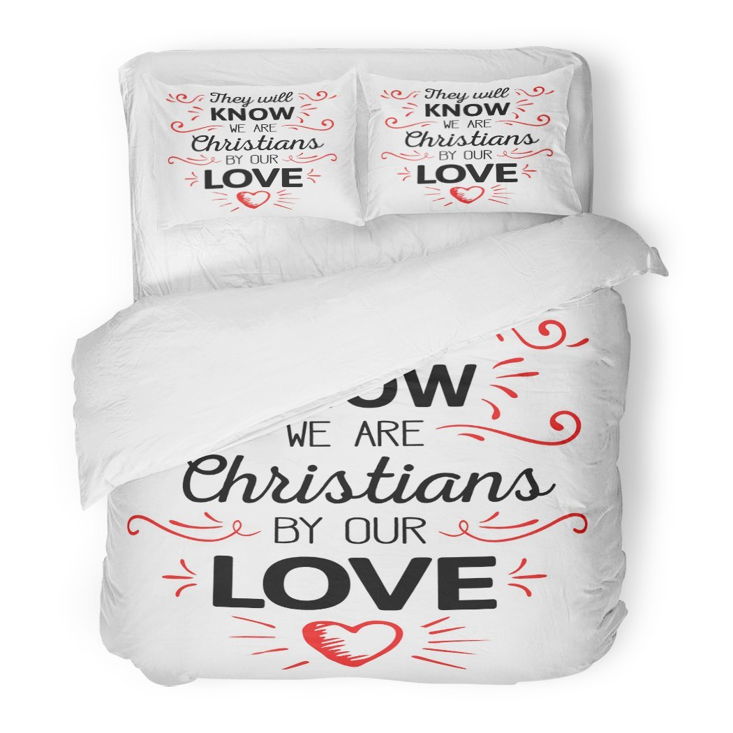 SanChic Duvet Cover Set They Will Know We are Christians Our Love Calligraphy Red Ornamental Accents Heart Decorative Bedding Set Pillow Sham Twin Size