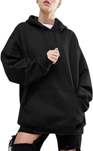 BienBien Pull à Capuche Oversize Manches Longues Hoodie Sweatshirt Femme Hip Hop Sweats à Capuche Lâche Manteau à Capuchon Décontracté Pullover
