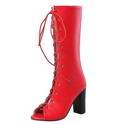 AIYOUMEI Damen Blockabsatz Sommerstiefel mit Schnürung Sandalen Peeptoe  High Heels Sommer Stiefel Rot 33.5 EU e54363af04
