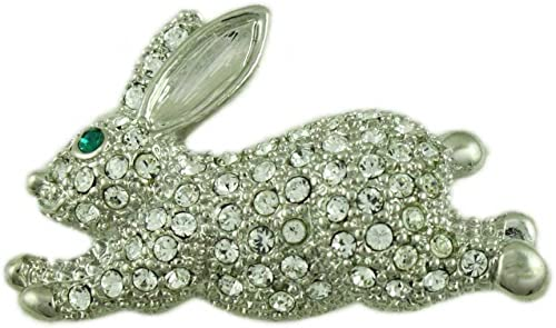 Silver tone bunny rabbit pendant necklace with colourful crystals