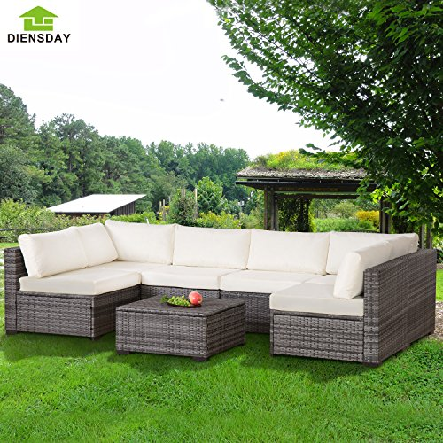 Diensday 7 Piece All-Weather Cushioned Outdoor Patio PE Rattan Wicker Sofa Sectional Furniture Set Clearance Lawn Backyard Furniture,Beige (Black,Mixed Grey) (Grey Rattan Patio Furniture)