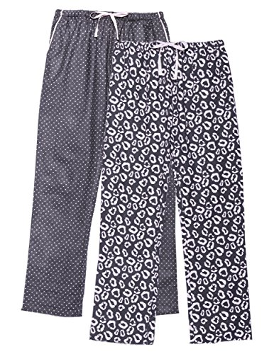 Women's Flannel Lounge Pants 2-Pack - Leopard-Pin Dots Pink - Large