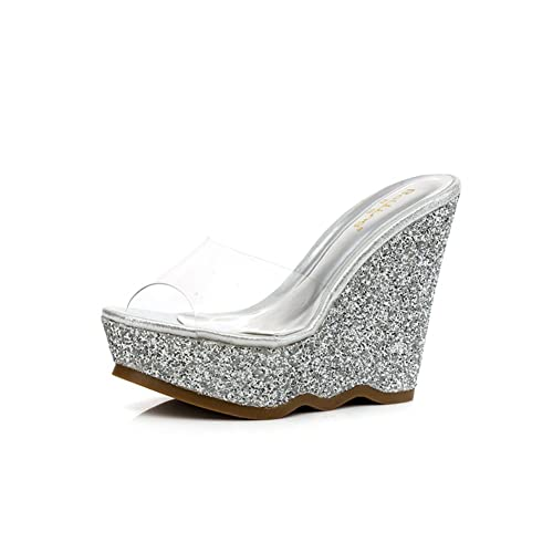 scarpe con piccolo/Estate Zeppe Sandali e ciabatte/Glitter trasparente  tacchi piattaforma-B