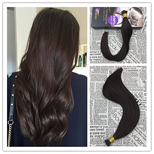 Moresoo Pre Bonded Hair Extensions 50s 24 inch Keratin Tipped Human Hair Extensions Color #2 I Tip Fusion Hair Extensions 100 Remy Human Hair 50strands/pack (Hair Of The 50s)