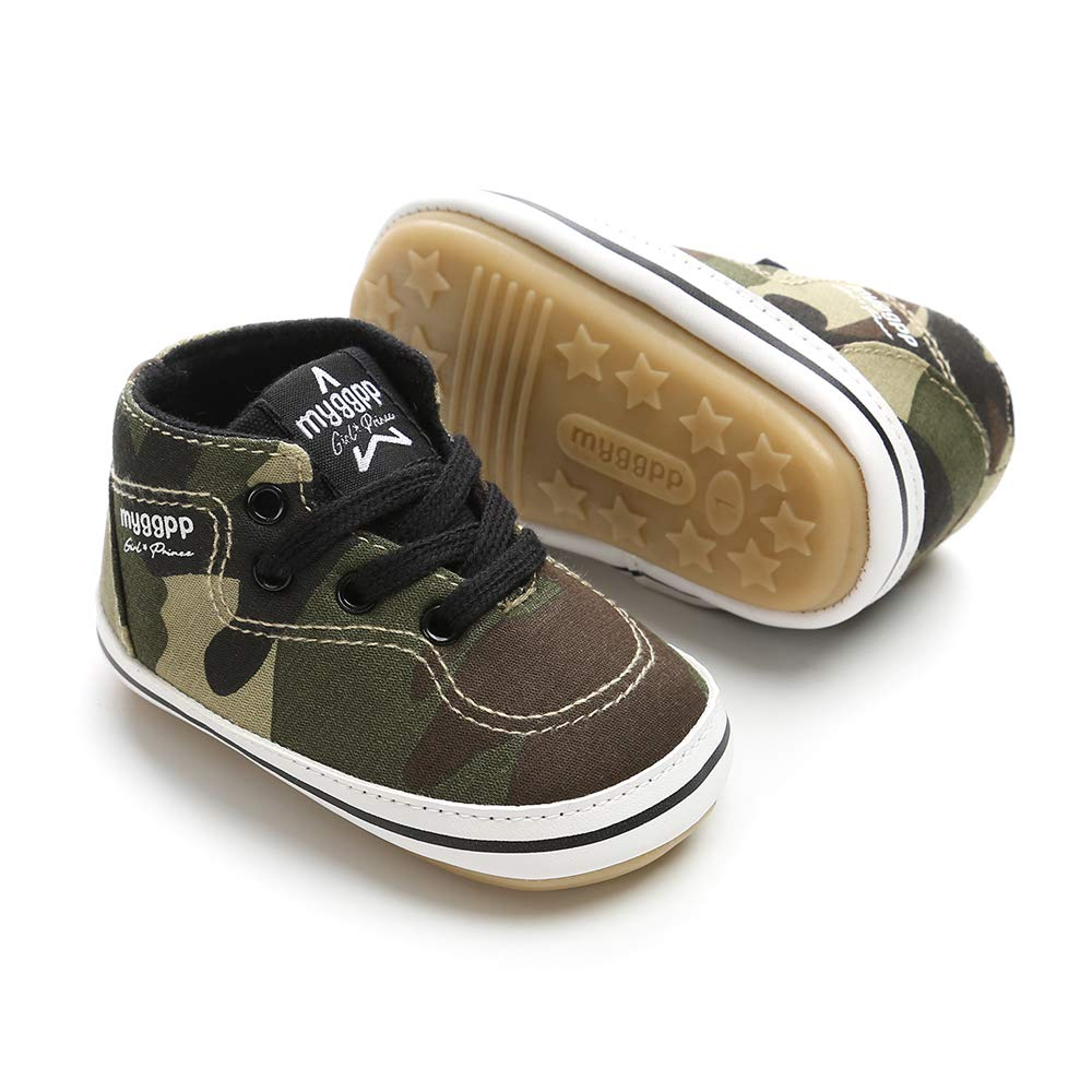 Baby Girls Boys Canvas Shoes Soft Sole Toddler First Walker Infant High-Top Ankle Sneakers Newborn Crib Shoes (M: 4.73 inch(6-12 Months), D - Army Green)