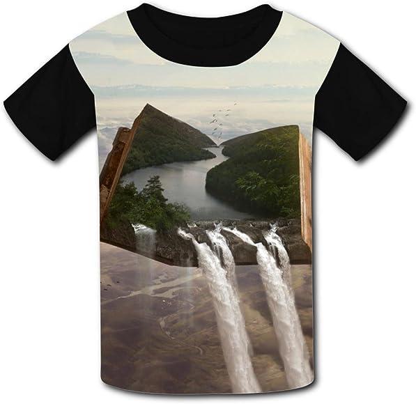 Elcacf Kids//Youth Fantasy Book River Waterfall Inside T-Shirts Short Sleeve Children Tees