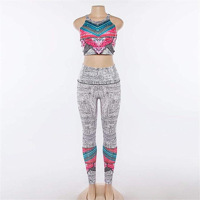 Pantaloni Lunghi Sportsuite per Donne Fitness Sport Suit Abbigliamento Sportivo da Donna remote.S 2 Pezzi Set da Yoga Stampa Floreale Reggiseno