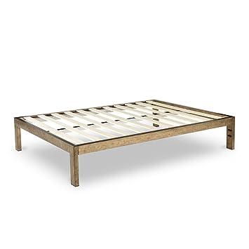 Amazon.com: The Frame Gold Brushed Steel Frame Platform Metal Bed