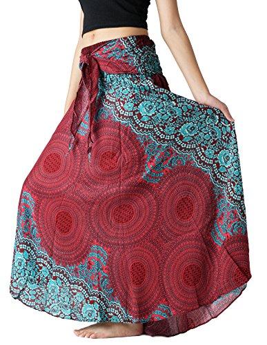 Bangkokpants Women's Long Hippie Bohemian Skirt Gypsy Dress Boho Clothes Flowers One Size Fits (Red, One Size)