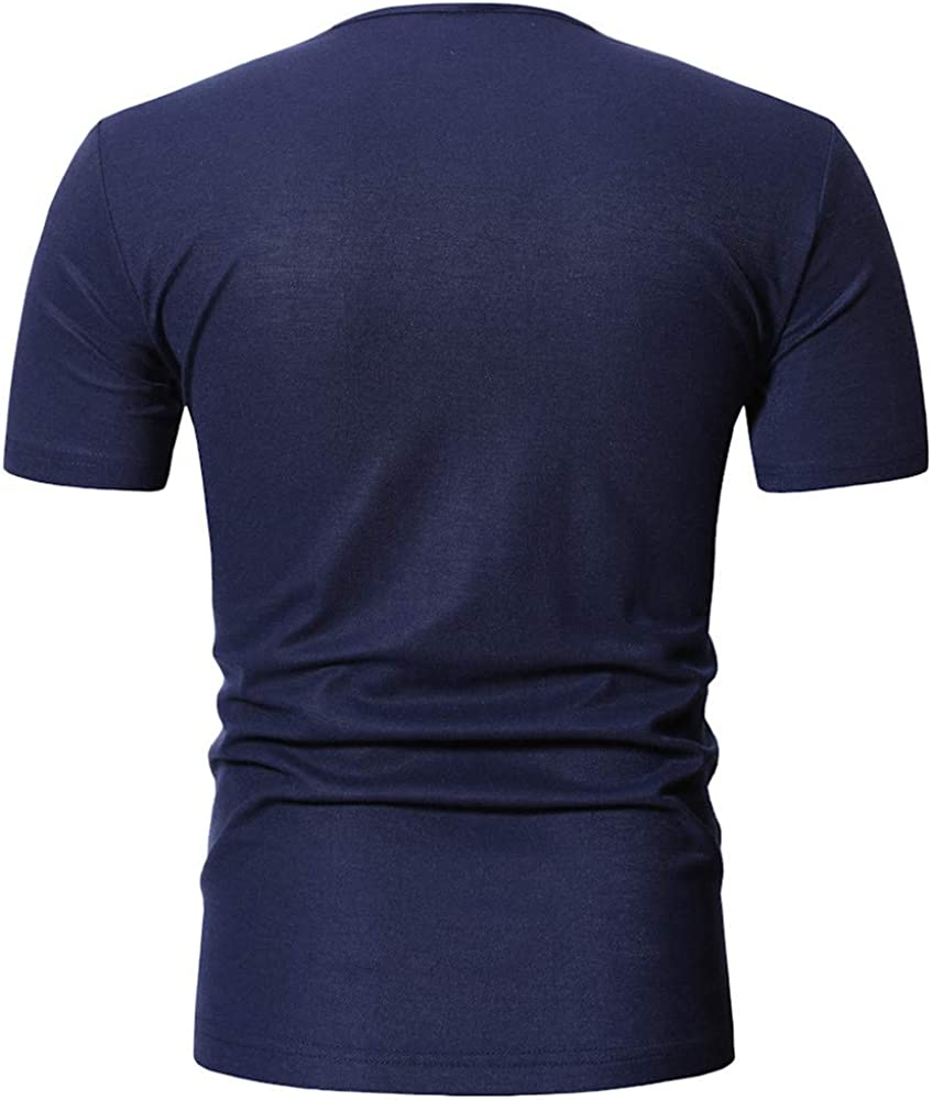 TIFIY Camiseta Casual Hombre Basicas Simple Cuello V Manga Corta Salvaje Modo Camisas Verano(Armada, M): Amazon.es: Ropa y accesorios