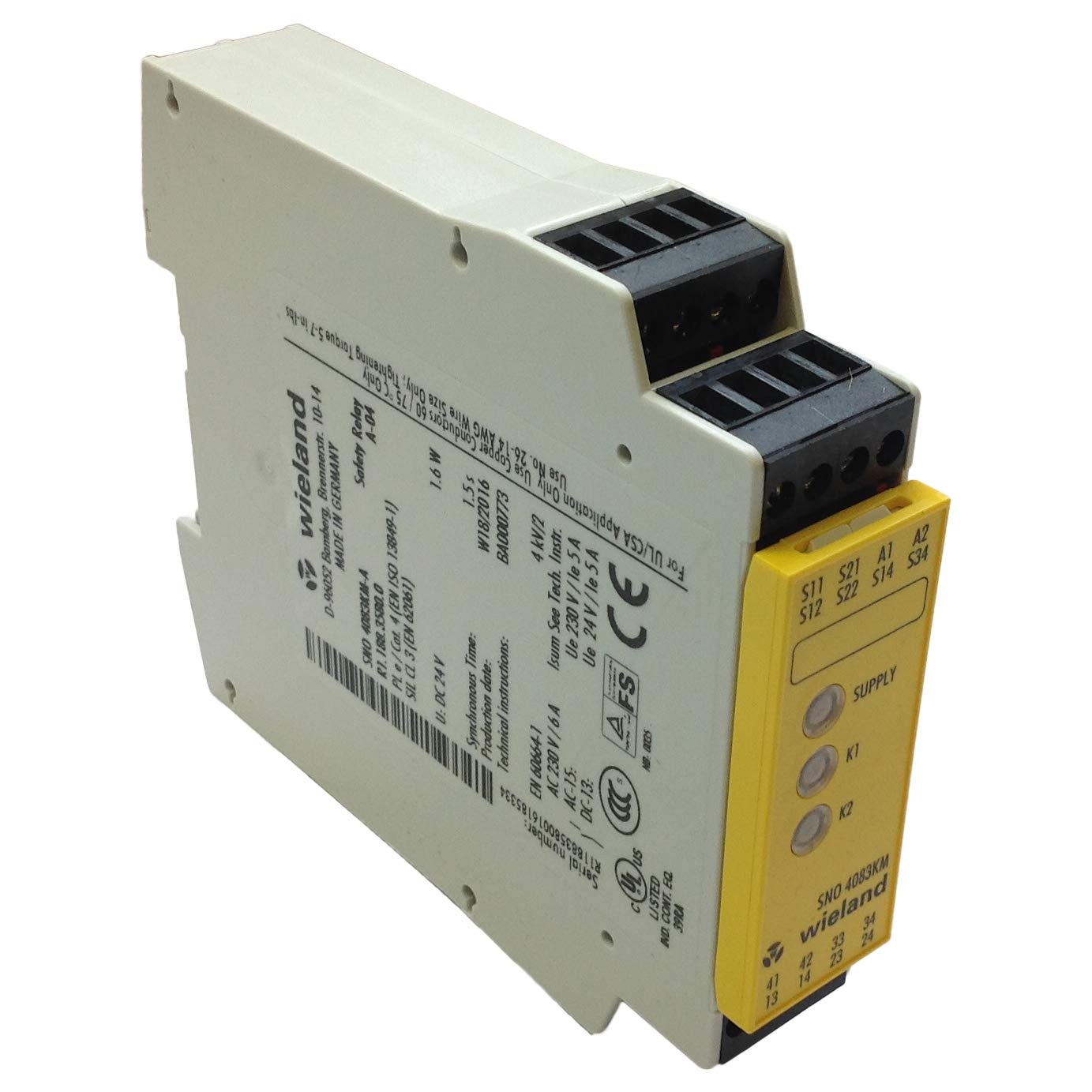 R1.188.3580.0 | SNO 4083KM-A DC 24V; 1.5s | WIELAND SAFETY RELAY, UNIVERSAL SAFETY RELAY, 3NO & 1NC CONTACTS