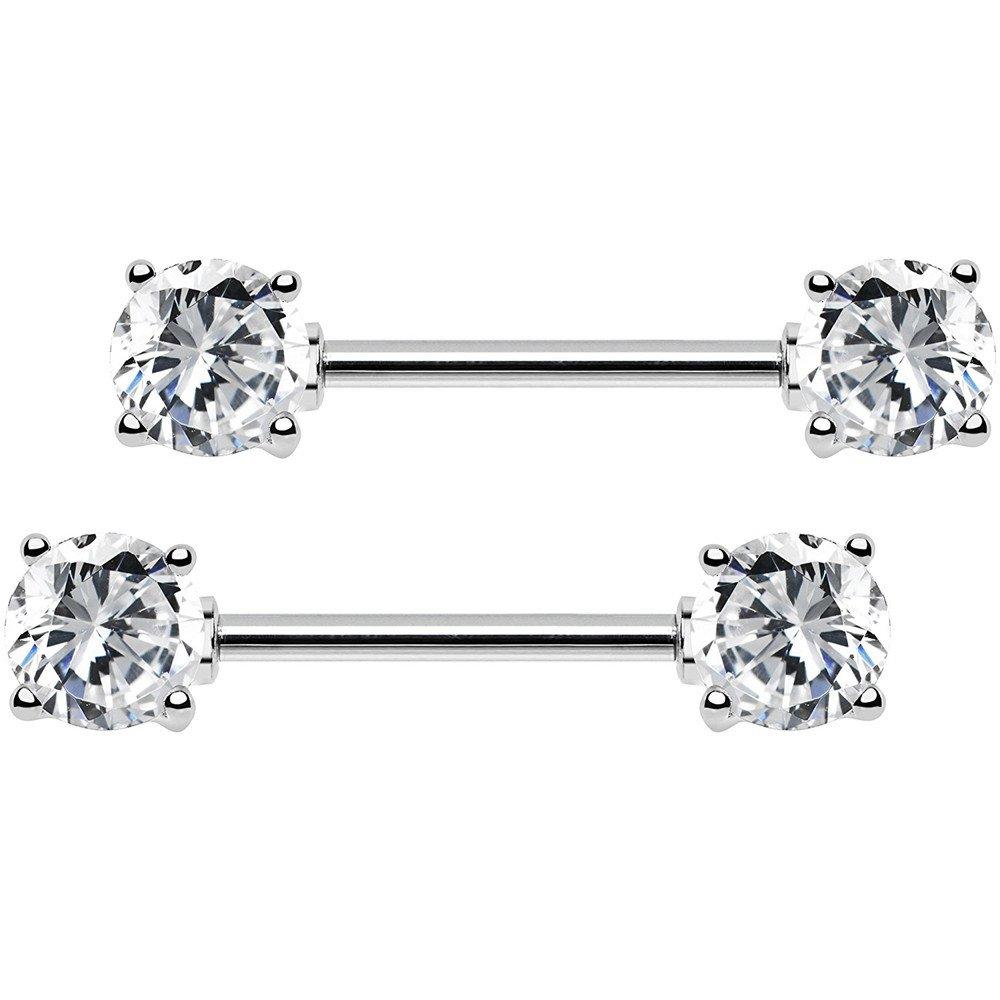 BODYA 2pcs 14g 5mm 7mm Cubic Zirconia Stainles Steel Bar straight Nipple Ring Barbell body piercing jewelry