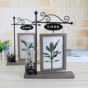 Garden Decoration Unique Family Piture Frame 4x6 Vertical Metal Tree Desk Photo Frames with Glass Terrarium Vase Flower Plants (Love)