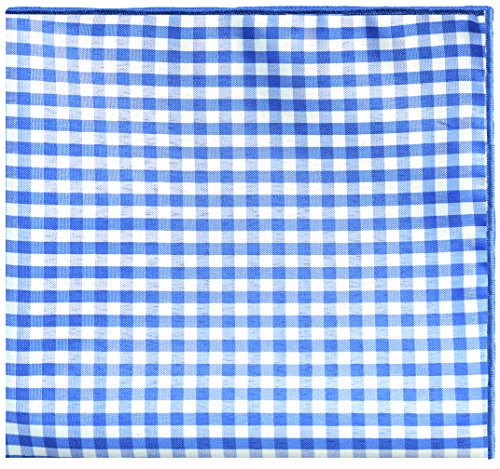 Blue & White Gingham Check w/ Blue Button Mens Pocket Square by The Detailed Male by The Detailed Male (Image #1)