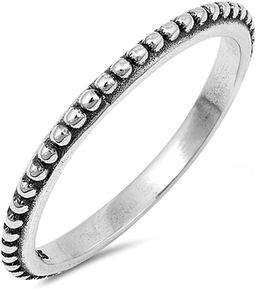 Thin Beaded Bali Stackable Ring New .925 Sterling Silver Vintage Band Sizes 3-13