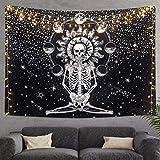 Skull Tapestry Meditation Skeleton Wall Hanging Tapestry, Chakra Starry Tapestry-Black and White Stars, Mural for Bedroom, Living Room, Dorm, Home Decoration (51.2' x 59.1')