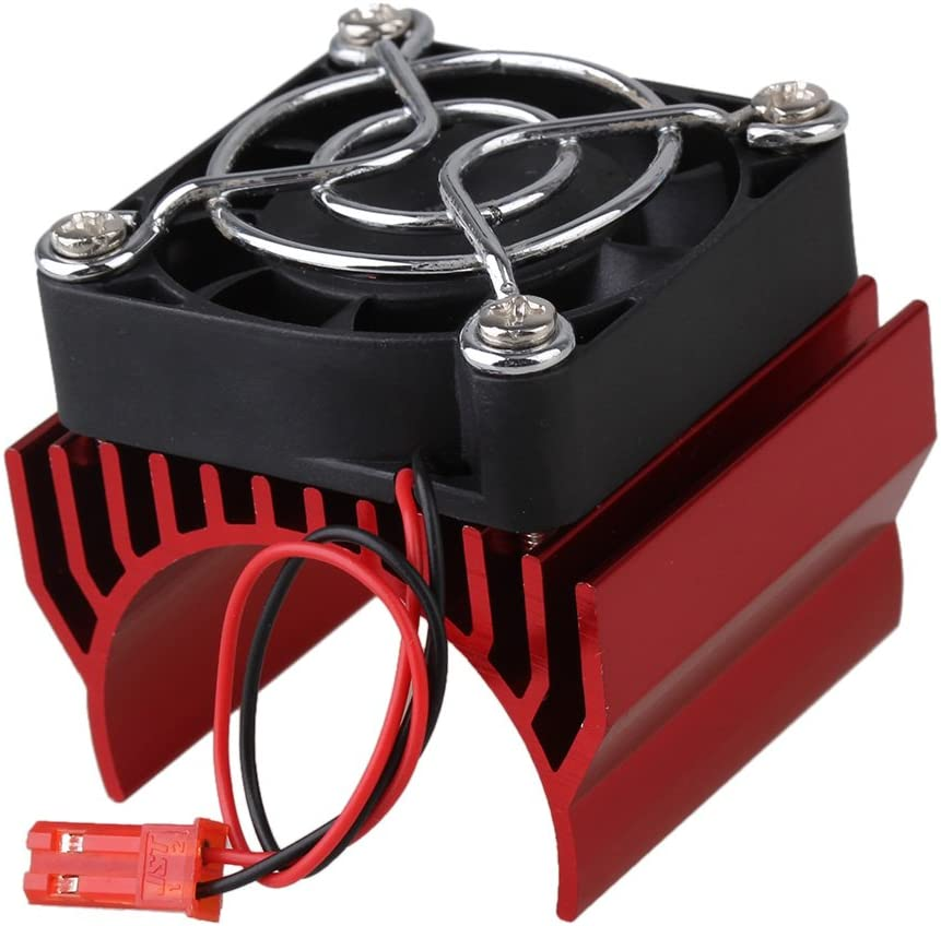 Mxfans N10104 Red Aluminum Alloy Plastic Motor heatsink & Net Cover & Fan for RC 1:10 Car 540 550 Motor Heat Sink
