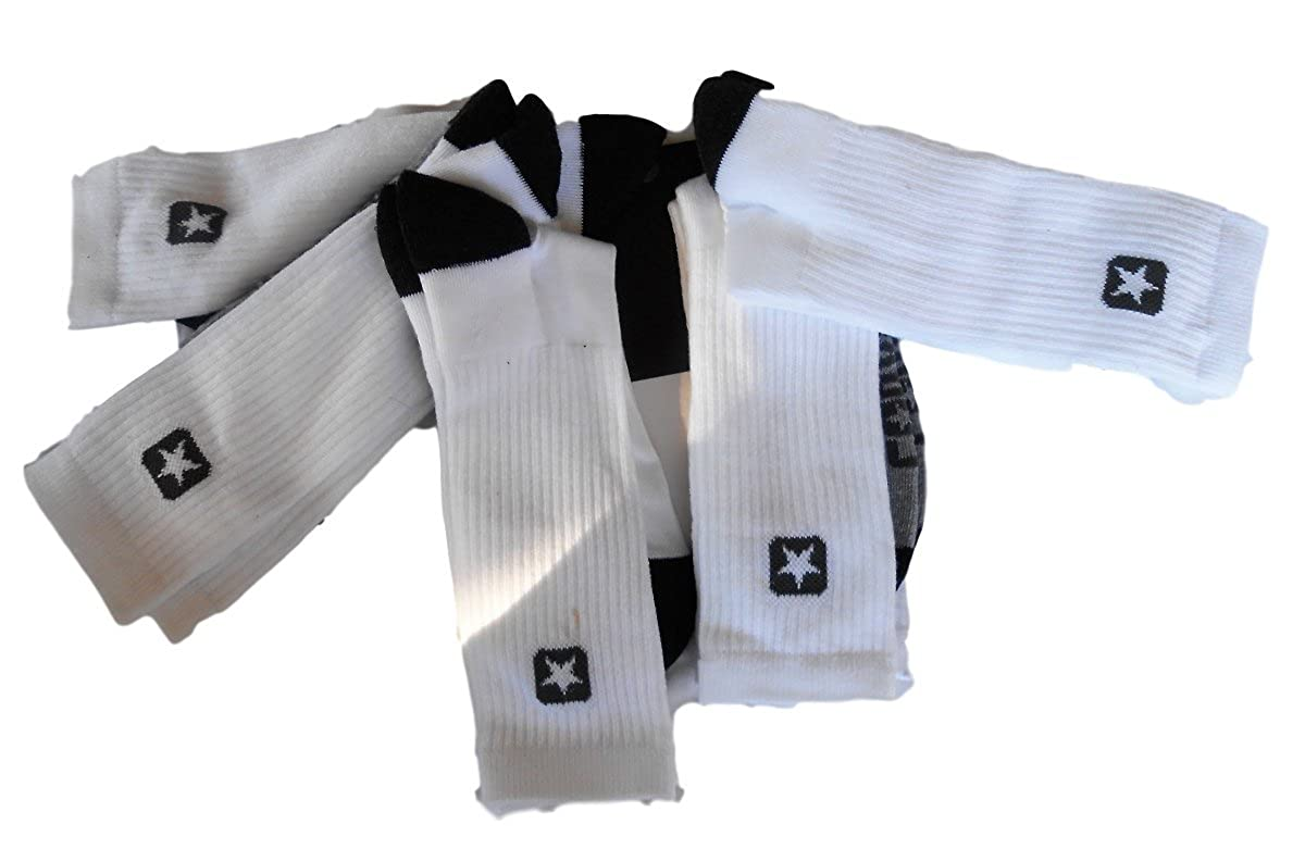 5d67cf57f4b34 Converse Crew Socks, Shoe Size 6-12, White with Gray (Pack of 5) at ...