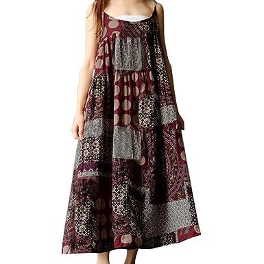 59456e098eb LONUPAZZ Robe Longue Ample Hippie Boheme Imprimee Femme Ete 2018 Grande  Taille Linge De Coton sans