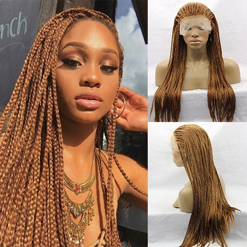 Party Queen Heat Resistant Dark Blonde Micro Braided Hair Wigs Half Hand Tied Synthetic Lace Front Natural Long Braid Wig