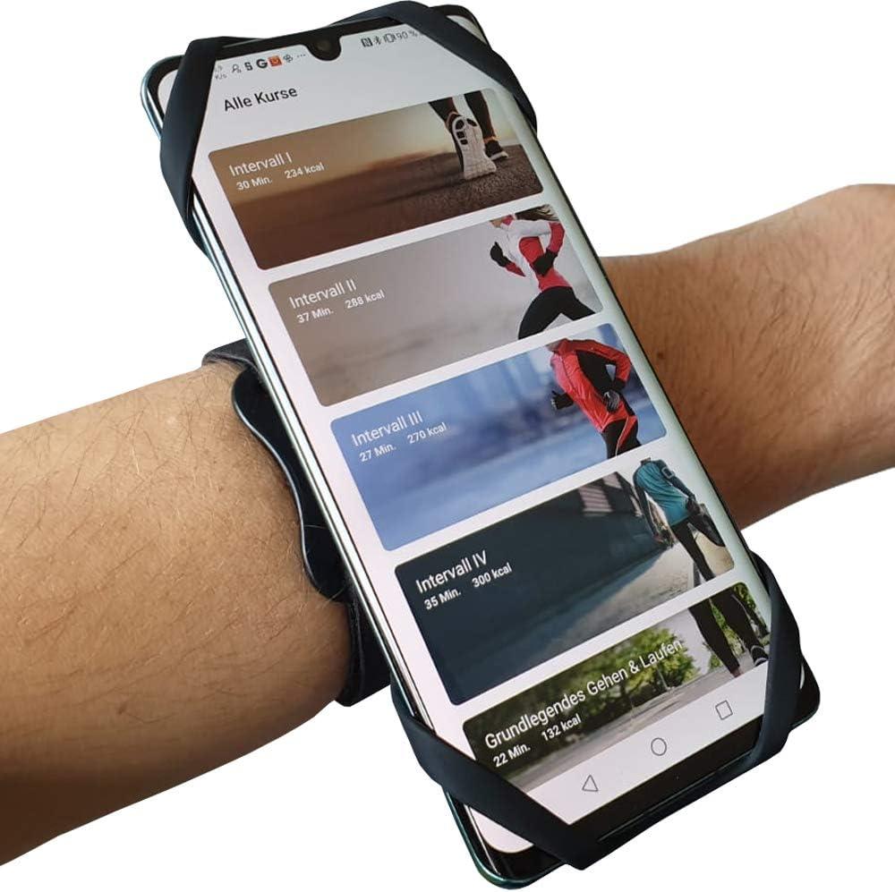 Myne 3in1 Sportarmband 360 Run Für Smartphones 4 5 6 5 Für Joggen Fahrradfahren Universal Armband Für Alle Gängigen Handys Schweißfest 360 Drehbar Federleicht Sport Freizeit