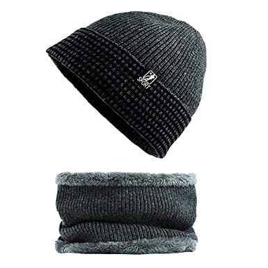 397d10347bad6 DAYSEVENTH Winter Mens Hat and Scarf Set 2 Piece Warm Knit Cap and Scarf  Outdoor(Black)  Amazon.co.uk  Clothing