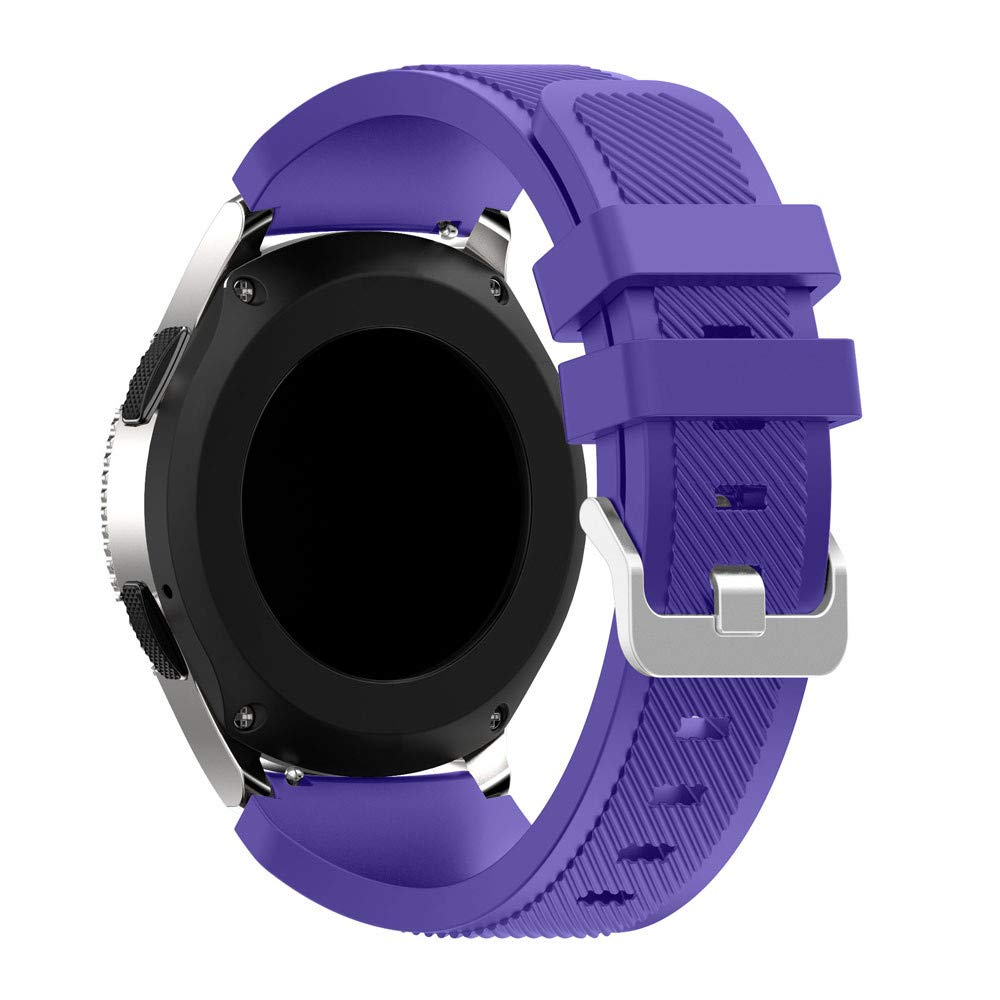 KFSO Compatible Samsung Galaxy Watch 42mm/46mm,Soft Silicone Watch Band Replacement Band Strap (Purple, 46mm)