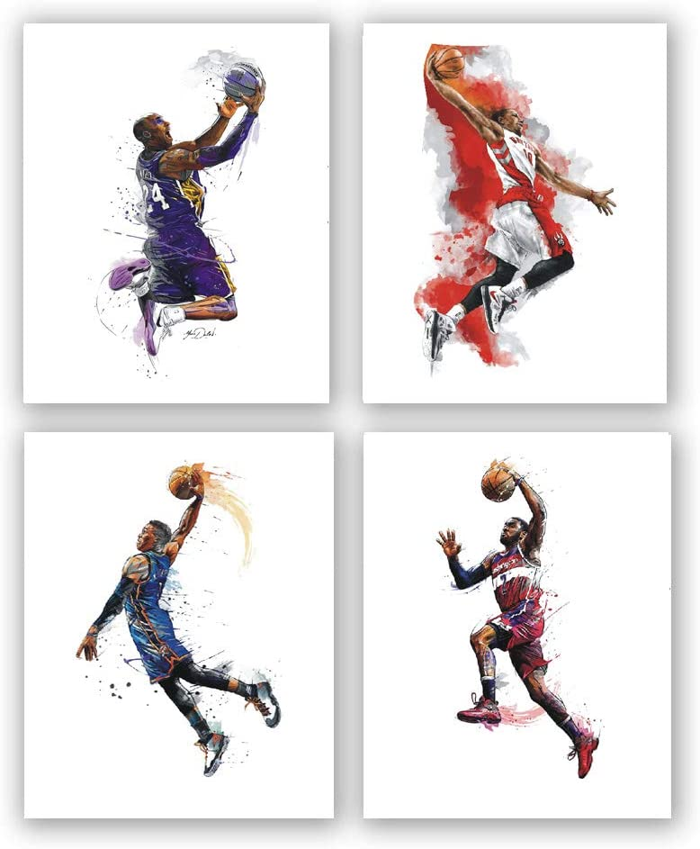 Basketball art Canvas Painting,Kobe Bryant Poster Pictures Prints ,Basketball Wall art Prints Suitable for Boys Bedroom, Frameless,(8x 10 inx4)