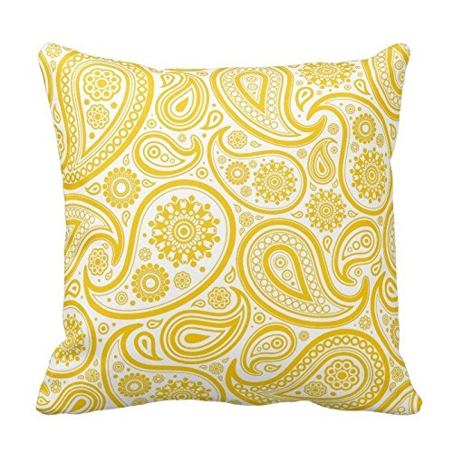 Yellow and White Paisley Pattern Throw Pillow Case Covers Flower Design Home Sofa Decorative Square 18x18 Two - Yellow Paisley