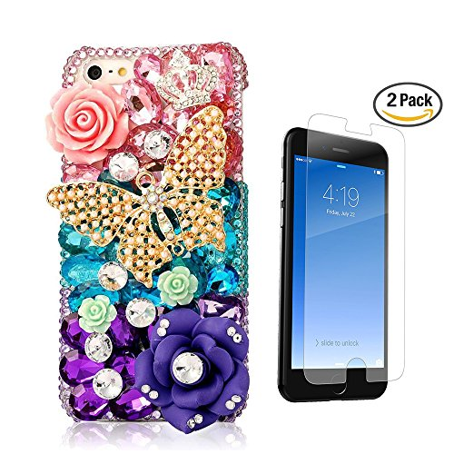 STENES iPhone 8 Case - 3D Handmade Luxury Butterfly Pretty Crown Rose Flowers Sparkle Rhinestone Design Cover Bling Case for iPhone 7 / iPhone 8 Screen Protector & Retro Dust Plug - Colorful