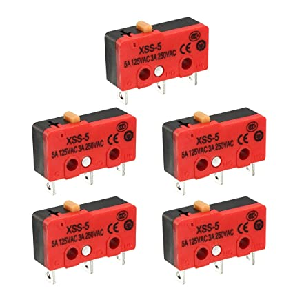 uxcell XURUI Authorized 5Pcs 5A/125VAC, 3A/250VAC SPDT NO+NC Snap Button  Type Micro Switch