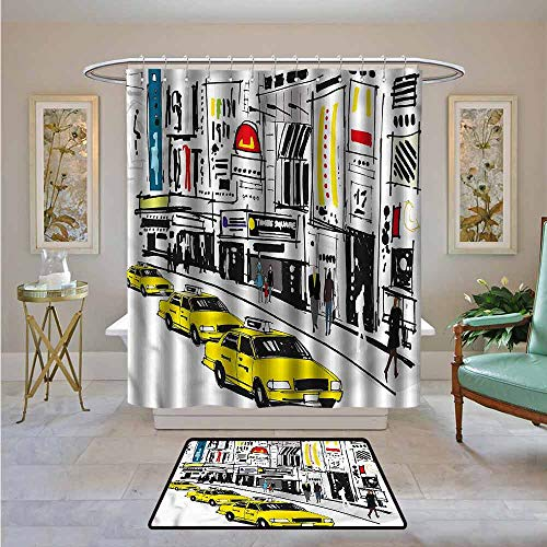 Kenneth Camilla01 Bathroom Curtain Modern,Times Square New York People,Bathroom Shower Curtain Water Repellent and Mild Resistant 94