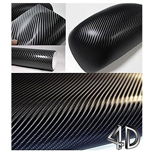 Autocollant de voiture étanche en fibre de carbone 4D noir, film de vinyle en fibre de carbone 4D sans bulles d'air, autocollant pour personnalisation par bricolage de voiture 152cm x 30cm