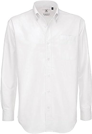 B&C Collection Oxford Camisa de manga larga con bolsillo en el pecho para hombre: Amazon.es: Ropa y accesorios