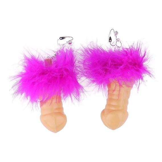 Freebily 1Par de Pendientes de Forma Pene Divertido para Mujeres Fiesta Carnaval Despedida de Soltera Clip
