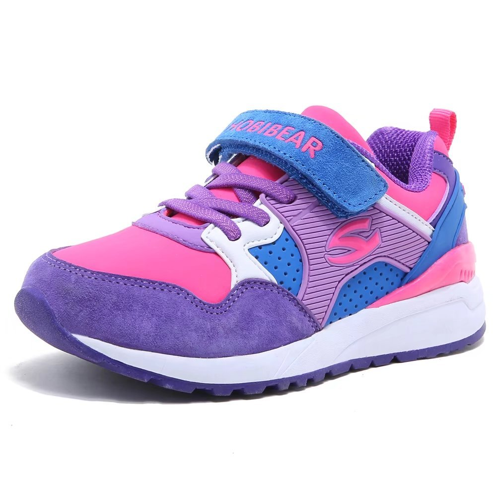 HOBIBEAR Kids Athletic Running Shoes Strap Sport Sneakers Comfortable Hot Pink