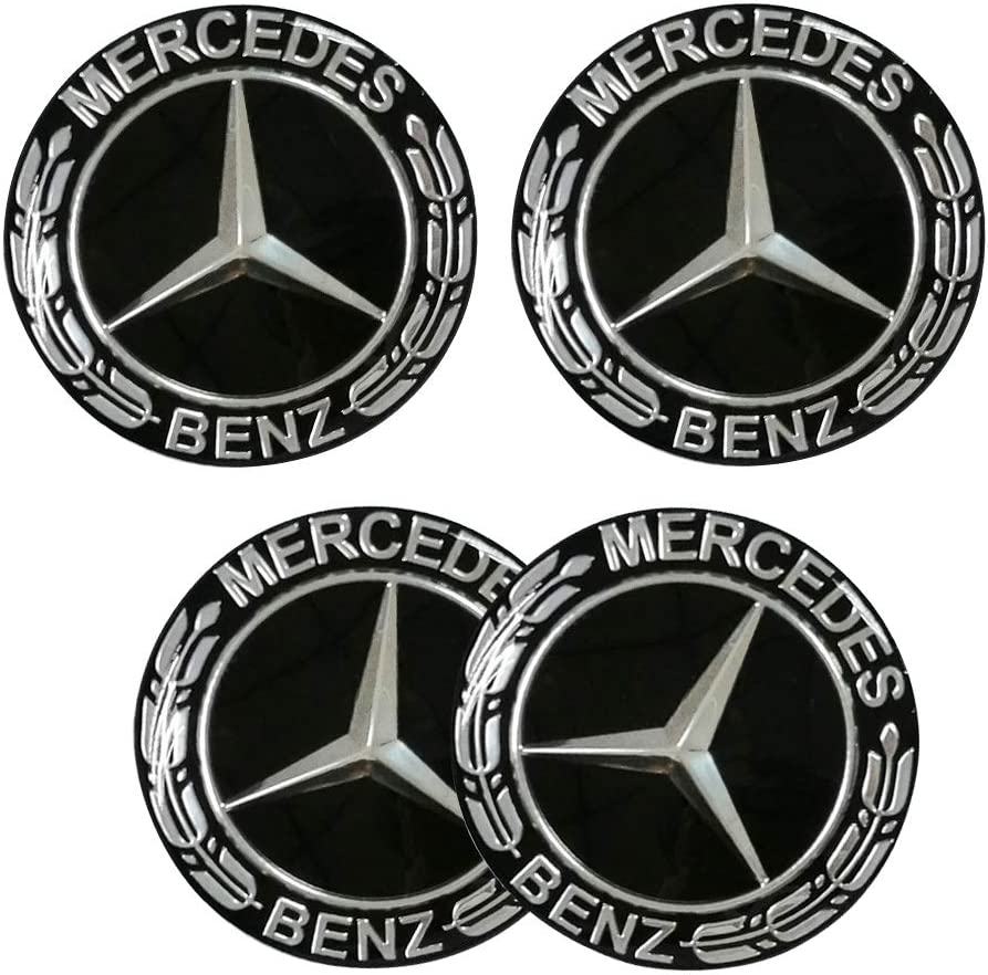 DIYcarhome 4PCS 65mm//2.56inch Auto Car Sticker Wheel Center Hub Cap Logo Aluminium fit for Mercedes-Benz
