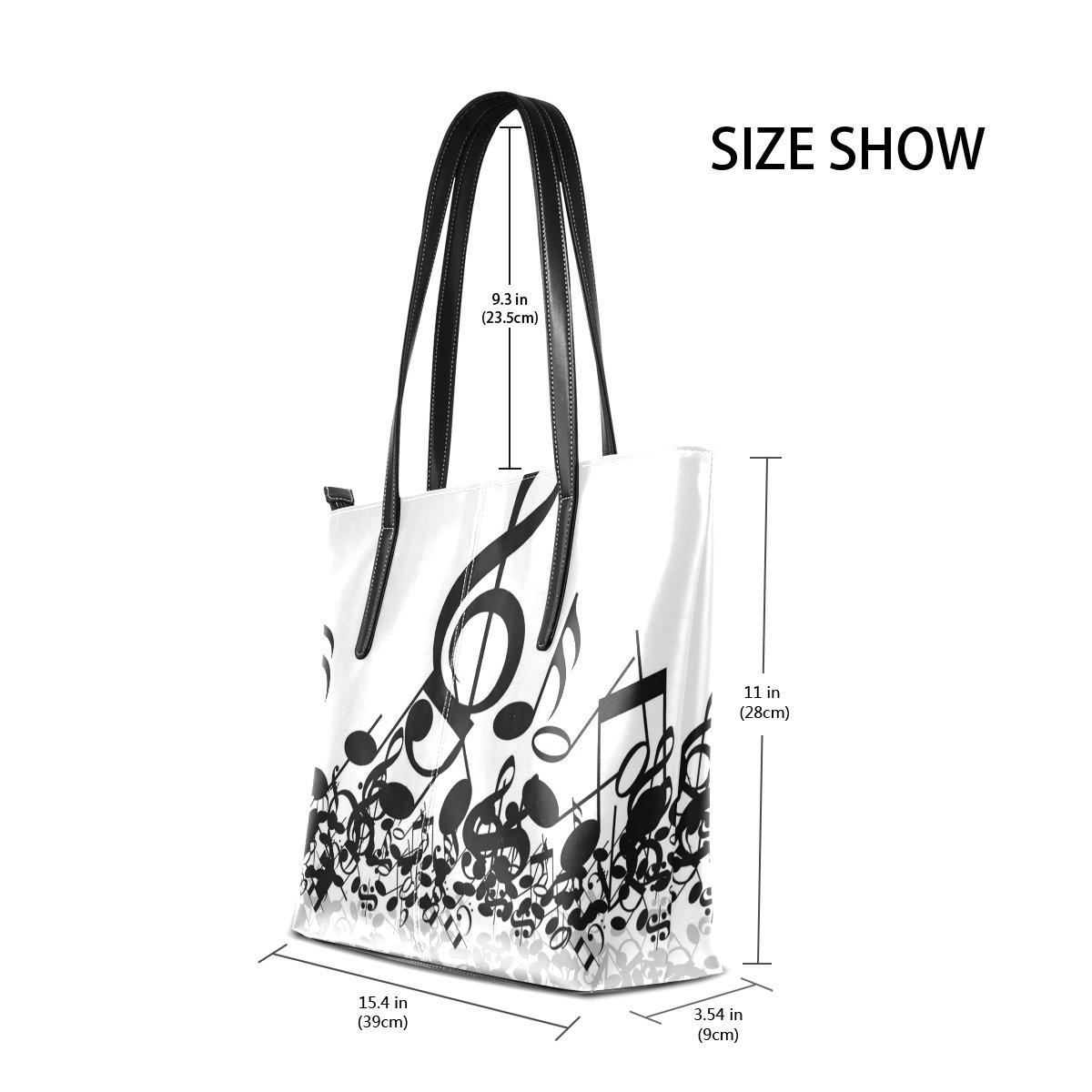 48f7bad7ceca DEYYA Music Notes Piano Women's Leather Tote Shoulder Bags Handbags