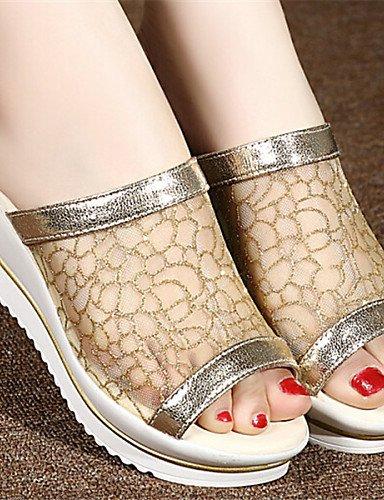 LFNLYX Zapatos de mujer Semicuero Tacón Cuña Punta Abierta Pantuflas Vestido Plata/Oro golden