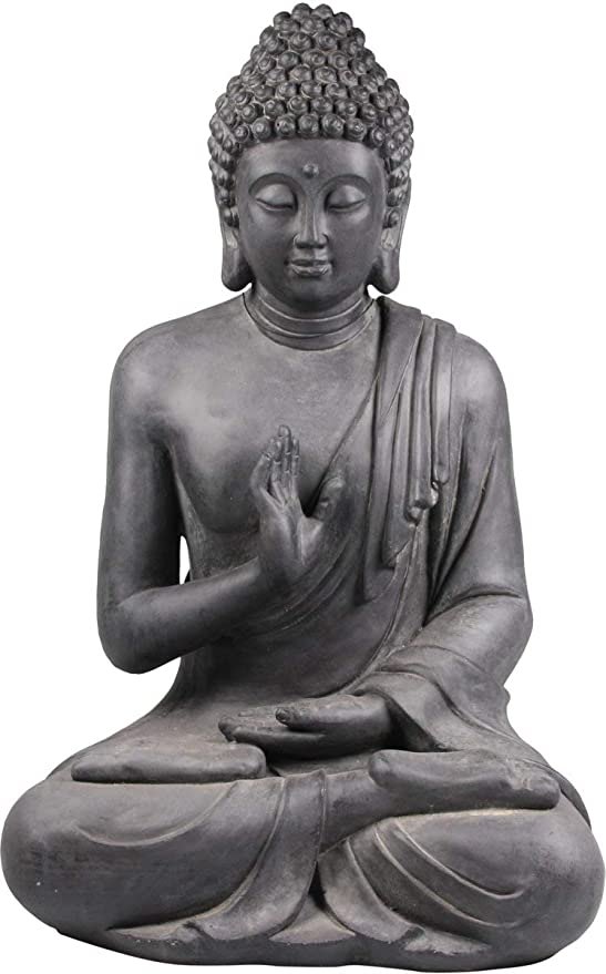 Stone-Lite Figura de Buda Sentado con Gesto de la Mano - para casa y jardín - Altura 73 cm - Negro: Amazon.es: Jardín
