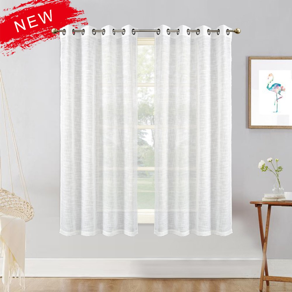 Zceconce Grommet White Bedroom Window Curtain Set Linen Semi Sheer Curtains Privacy Textured for Living Room 66 Inch Long for Hotel Dining Room (52''×66'', White, 1 Pair)