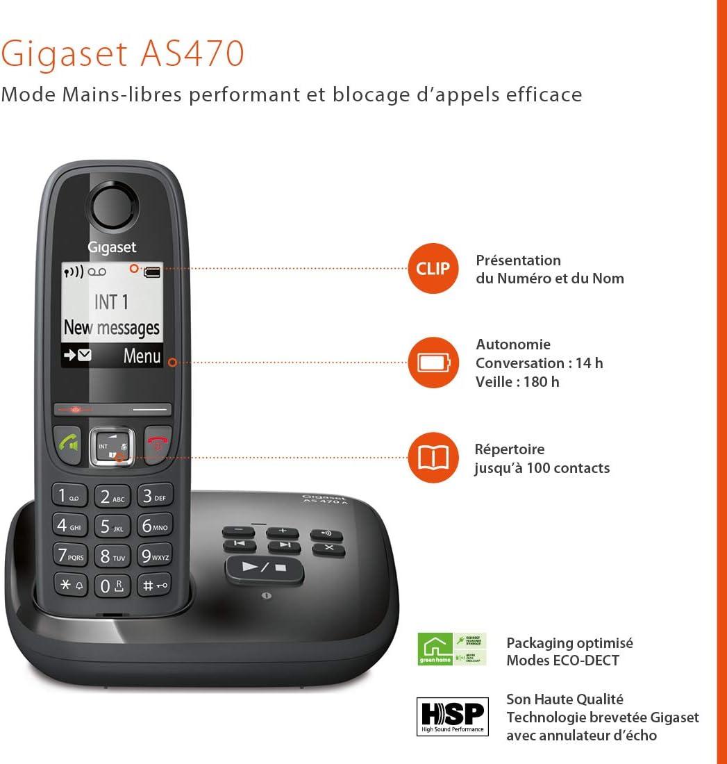 Gigaset AS470A Trio - Teléfono (Teléfono DECT, Terminal inalámbrico, Altavoz, 100 entradas, Identificador de Llamadas, Negro): Amazon.es: Electrónica