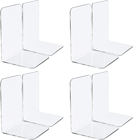2 Pairs; 4 Pieces Amazing Abby Acrylic L-Shape Heavy-Duty Bookends for Books and More Magazines