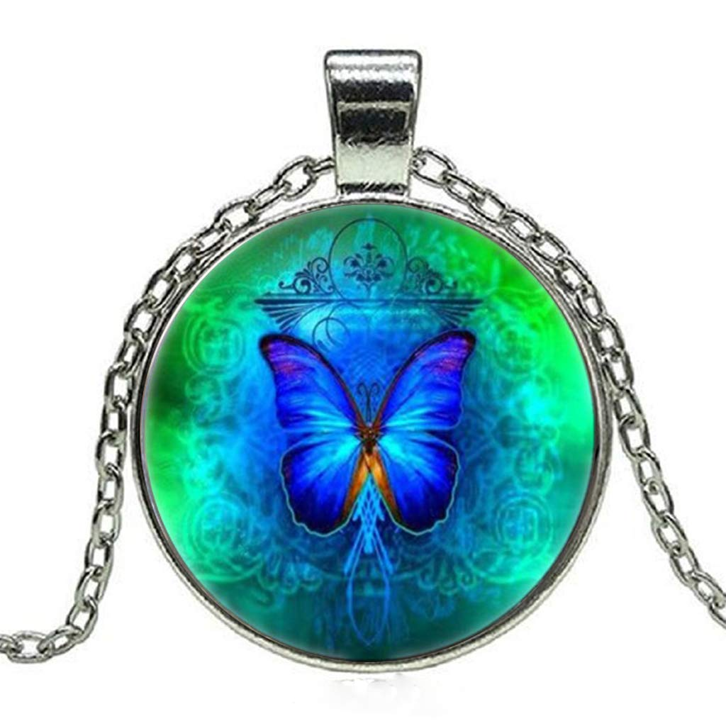 Blue Butterflies Cabochon Glass Tibet Silver Locket Pendant Necklace Fashion Jewelry
