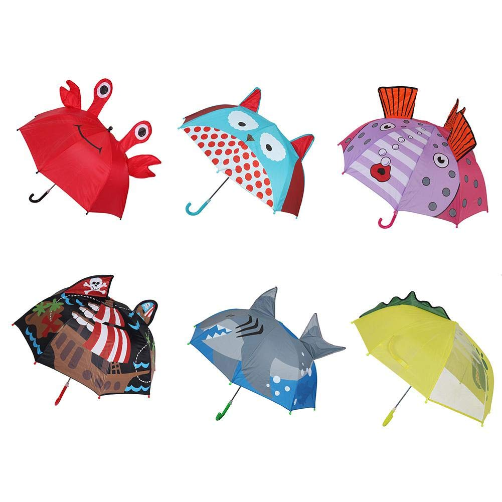 b61ec10e575f0 Amazon.com: Wustrious Children's Cartoon Umbrella, Rainproof Sunscreen Long  Handle Eight Bone Automatic Umbrella Ear Umbrella, Creative  Three-Dimensional ...