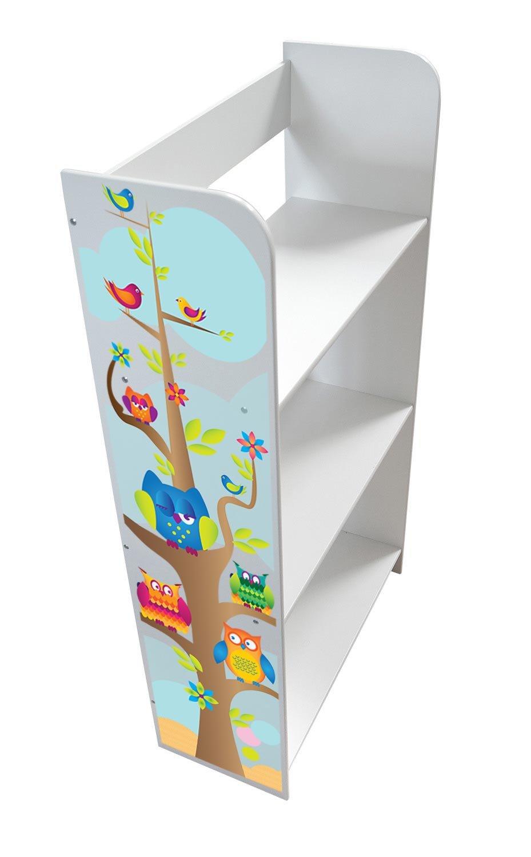 Scaffale Per Cameretta Bambini Motivo Gufi Mobile Porta Giocattoli Mobili in Legno Libreria Armadietto Pannelli Leomark