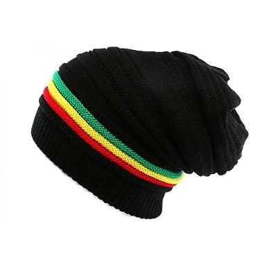 8d487f6cacec6 Gorro rasta negro con líneas Jamaica – Mixto negro Talla única   Amazon.es   Ropa y accesorios