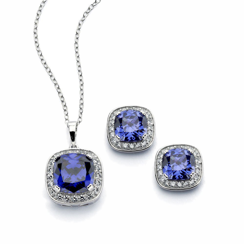 Sterling Silver Blue Color Square CZ Stud Earring & Necklace Set 16'' + 2'' Ext.