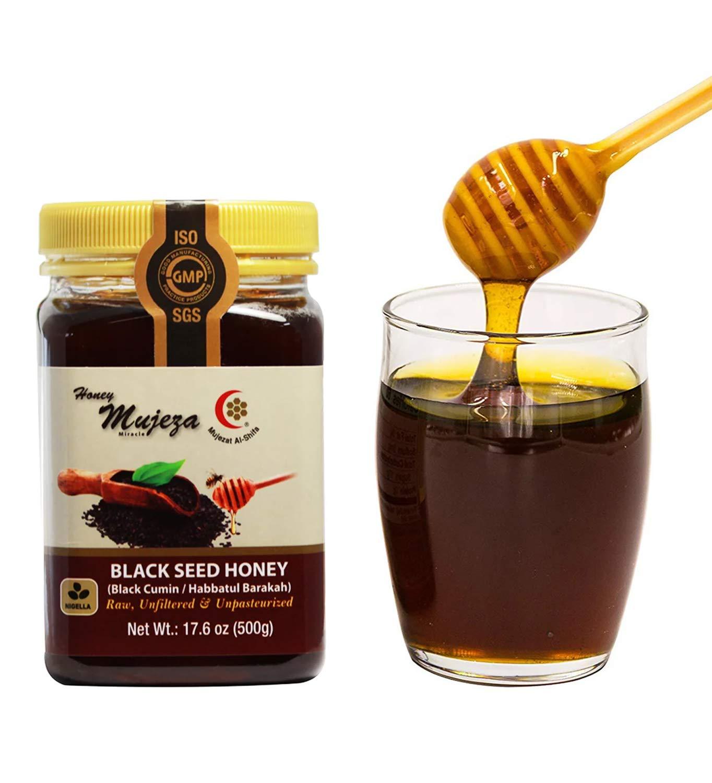 Mujeza Raw Black Seed Honey- (Black cumin- nigella seeds) Not mixed with black seed oil or black seed powder- Gluten Free Non Gmo Unfiltered Unprocessed 100% Natural Honey 17.6oz / 500gعسل حبة البركة